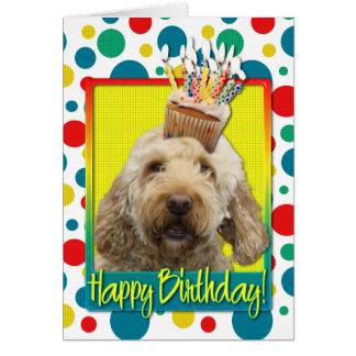 Birthday Cupcake - GoldenDoodle Card