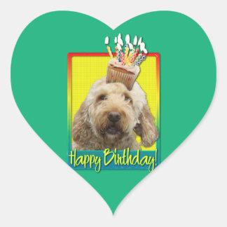Birthday Cupcake - GoldenDoodle Heart Sticker