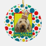 Birthday Cupcake - GoldenDoodle Double-Sided Ceramic Round Christmas Ornament