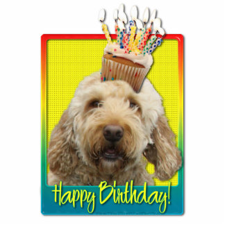Birthday Cupcake - GoldenDoodle Photo Cut Outs