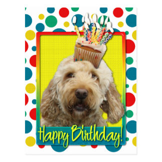 Birthday Cupcake - GoldenDoodle Post Card