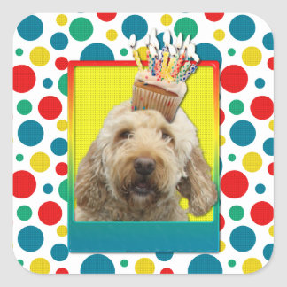 Birthday Cupcake - GoldenDoodle Square Sticker