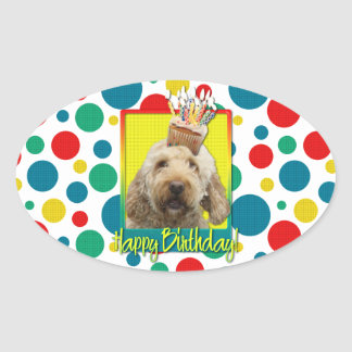 Birthday Cupcake - GoldenDoodle Oval Stickers
