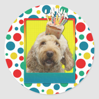 Birthday Cupcake - GoldenDoodle Round Sticker