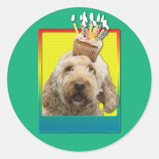 Birthday Cupcake - GoldenDoodle Round Stickers