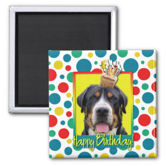Birthday Cupcake - Greater Swiss Mountain Dog 2 Inch Square Magnet