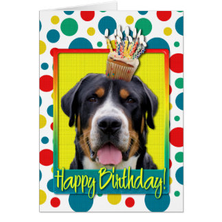 Birthday Cupcake - Greater Swiss Mountain Dog Card