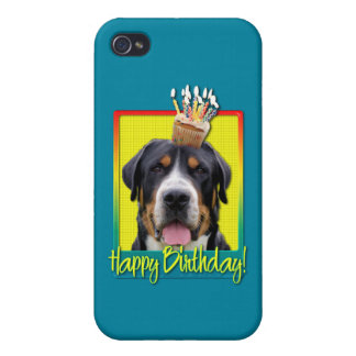 Birthday Cupcake - Greater Swiss Mountain Dog iPhone 4 Cover