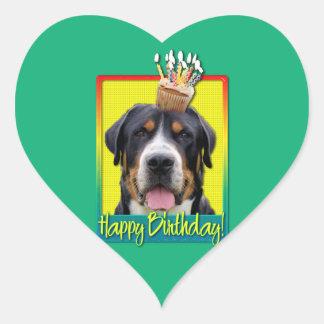 Birthday Cupcake - Greater Swiss Mountain Dog Heart Sticker