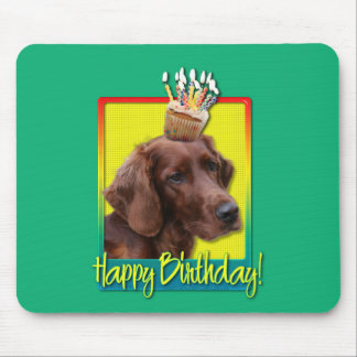 Birthday Cupcake - Irish Setter Mouse Pad