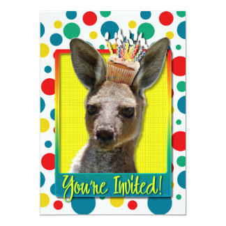 "Birthday Cupcake - Kangaroo 5"" X 7"" Invitation Card"