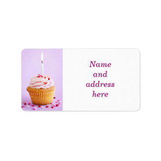 Birthday cupcake personalized address labels