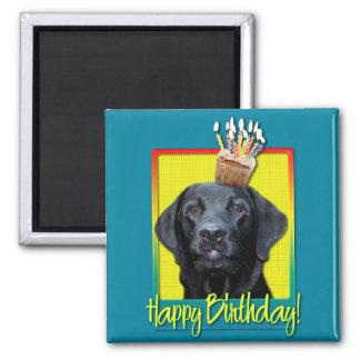 Birthday Cupcake - Labrador - Black - Gage 2 Inch Square Magnet