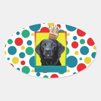 Birthday Cupcake - Labrador - Black - Gage Oval Sticker