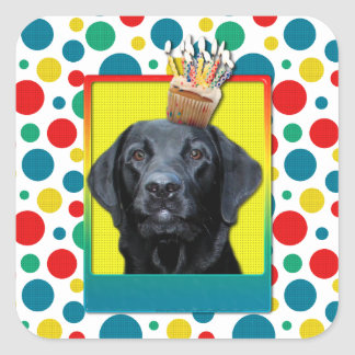 Birthday Cupcake - Labrador - Black - Gage Square Sticker