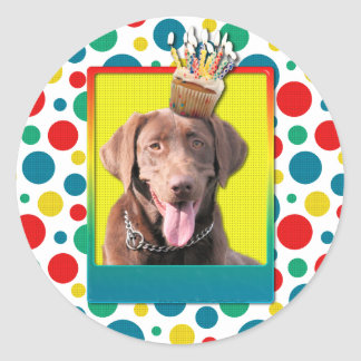 Birthday Cupcake - Labrador - Chocolate Classic Round Sticker