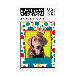 Birthday Cupcake - Labrador - Chocolate Stamp