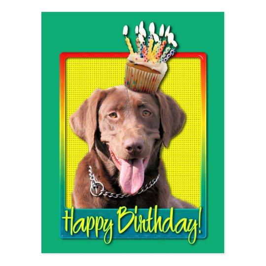 Birthday Cupcake - Labrador - Chocolate Postcard