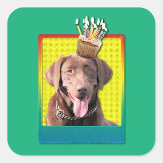 Birthday Cupcake - Labrador - Chocolate Square Sticker