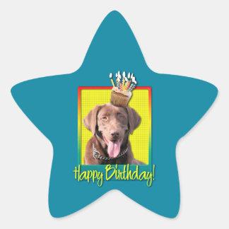 Birthday Cupcake - Labrador - Chocolate Star Sticker