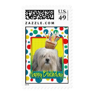 Birthday Cupcake - Lowchen Postage Stamp