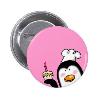 Birthday cupcake penguin chef button