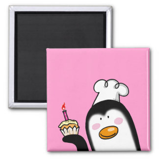 Birthday cupcake penguin chef 2 inch square magnet
