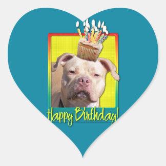 Birthday Cupcake - Pitbull - Jersey Girl Heart Sticker