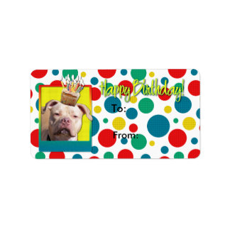 Birthday Cupcake - Pitbull - Jersey Girl Address Label