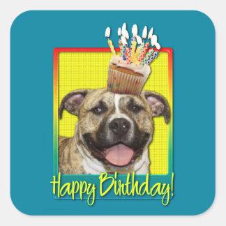 Birthday Cupcake - Pitbull - Tigger Square Sticker