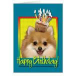 Birthday Cupcake Pomeranian Greeting Card