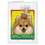 Birthday Cupcake - Pomeranian Greeting Cards
