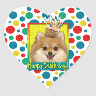 Birthday Cupcake - Pomeranian Heart Sticker