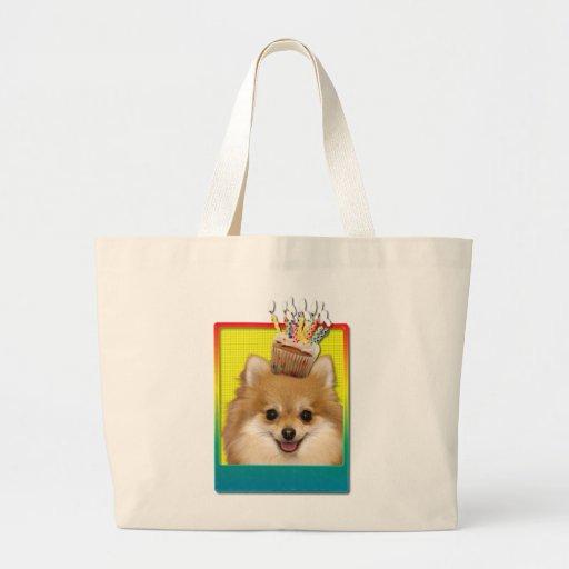 Birthday Cupcake - Pomeranian Jumbo Tote Bag