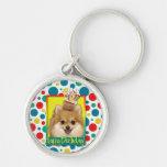 Birthday Cupcake - Pomeranian Silver-Colored Round Keychain
