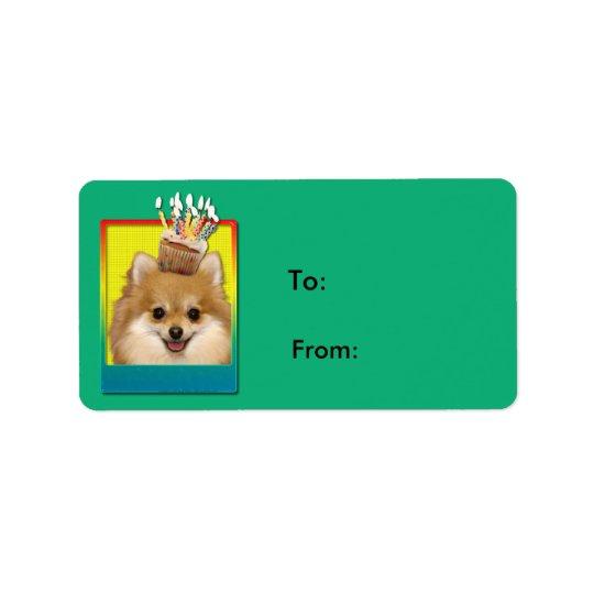 Birthday Cupcake Pomeranian Label