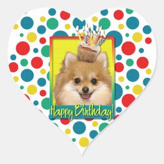 Birthday Cupcake - Pomeranian Heart Stickers