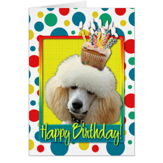 Birthday Cupcake - Poodle - Apricot Cards