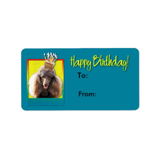 Birthday Cupcake - Poodle - Chocolate Label
