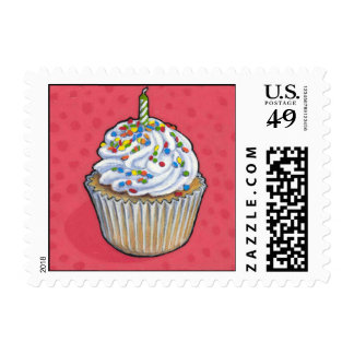 Birthday Cupcake Postage Stamps