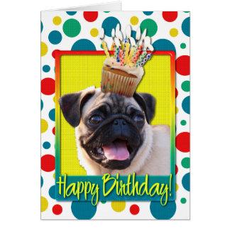 Birthday Cupcake - Pug Greeting Card