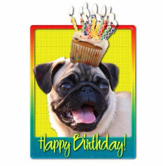 Birthday Cupcake - Pug Standing Photo Sculpture