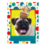 Birthday Cupcake - Pug Post Card