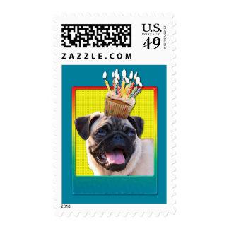 Birthday Cupcake - Pug Postage Stamp