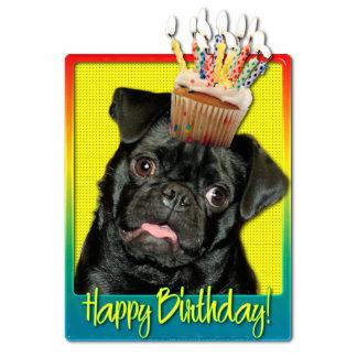 Birthday Cupcake - Pug - Ruffy Standing Photo Sculpture