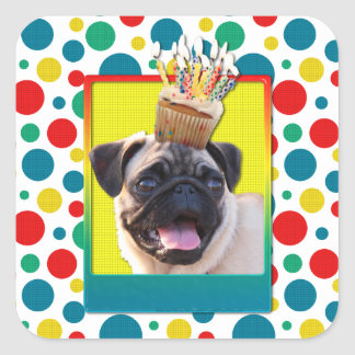 Birthday Cupcake - Pug Square Sticker