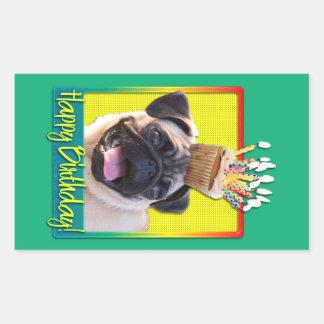 Birthday Cupcake - Pug Rectangle Sticker