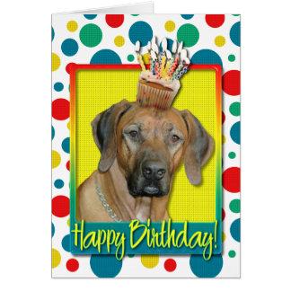Birthday Cupcake - Rhodesian Ridgeback Greeting Card