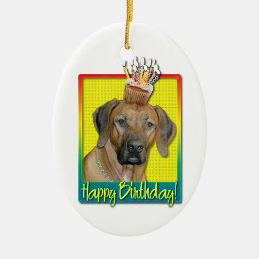 Birthday Cupcake - Rhodesian Ridgeback Double-Sided Oval Ceramic Christmas Ornament