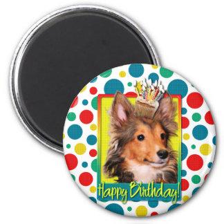 Birthday Cupcake - Sheltie Puppy - Cooper 2 Inch Round Magnet